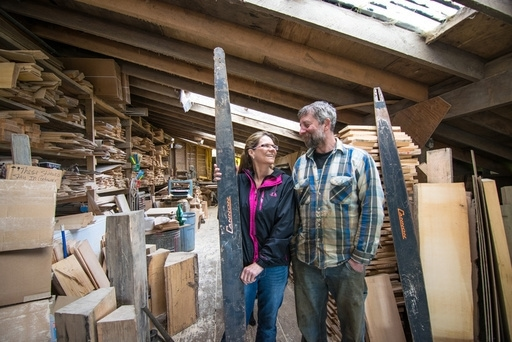 Brent and Annette Cole stand inside their original shop. Since May of 2015, the couple have begun production in their new facility, where drying, processing and storage can happen under one roof. Photo Bethany Goodrich, 2014.